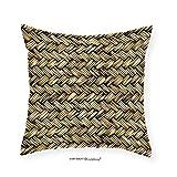 VROSELV Custom Cotton Linen Pillowcase Rattan Basket Weave Pattern Natural Boho Country Style Geometric Monochrome Art Design for Bedroom Living Room Dorm Gold 14'' x14