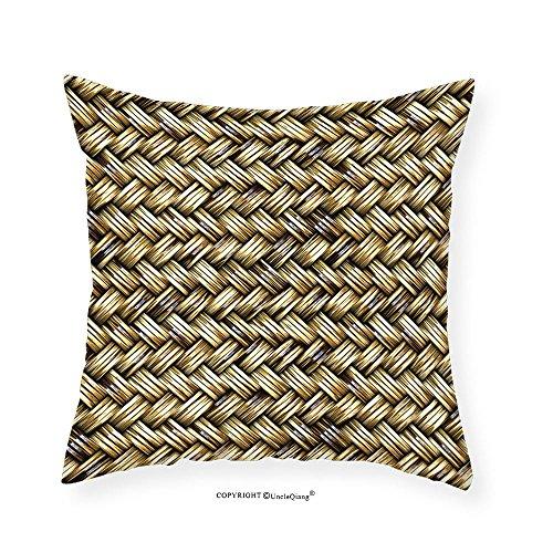 VROSELV Custom Cotton Linen Pillowcase Rattan Basket Weave Pattern Natural Boho Country Style Geometric Monochrome Art Design for Bedroom Living Room Dorm Gold 18