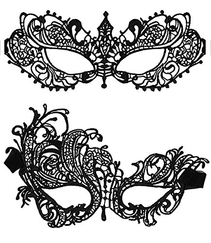 EVELICAL 2PCS Black Lace Eye Mask for Women Girls Masquerade Party Halloween (Catwoman Without Mask)