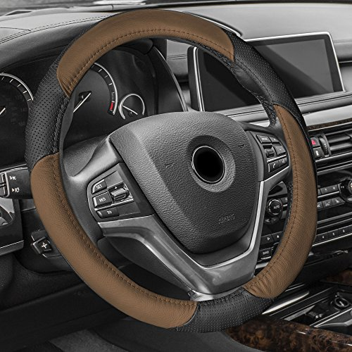 FH Group FH2001BROWN Steering Wheel Cover (Perforated Genuine Leather Brown)