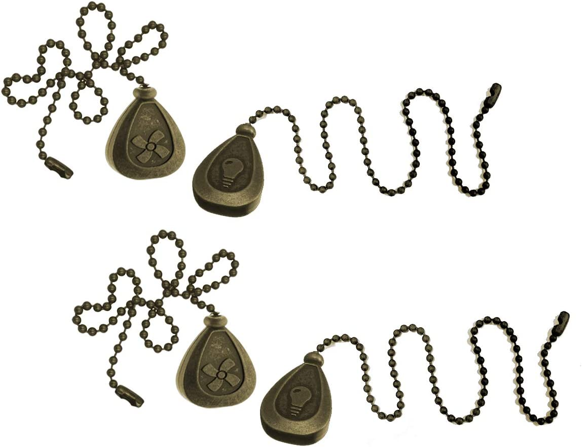 SEREBII Bronze Ceiling Fan Pull Chain Set, Fan Pull Chain Extension, Fan Pull Chain Pendant Ceiling, Bronze Ball Chain with 12 Inch Connector 4 Pieces Pull Chain Extender Ornament(Bronze Copper) - -