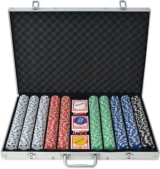 vidaXL Juego de Póker con Maletín con 1000 Fichas Aluminio Set de Jugar Póquer: Amazon.es: Juguetes y juegos