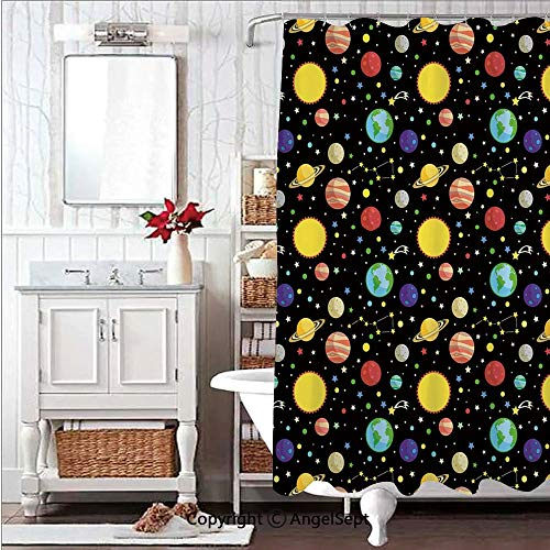 Soft,Non Toxic,Eco-Friendly,No Chemical Odor Shower Curtain Bath Curtain 71x78in Comets and Constellations Stars with Polka Dots Earth Sun Saturn ars Solar SystemMulticolor Decorative Design Plastic