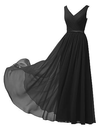 90a1a9e7560a Alicepub V-Neck Chiffon Bridesmaid Dress Long Party Prom Evening Dress  Sleeveless, Black,