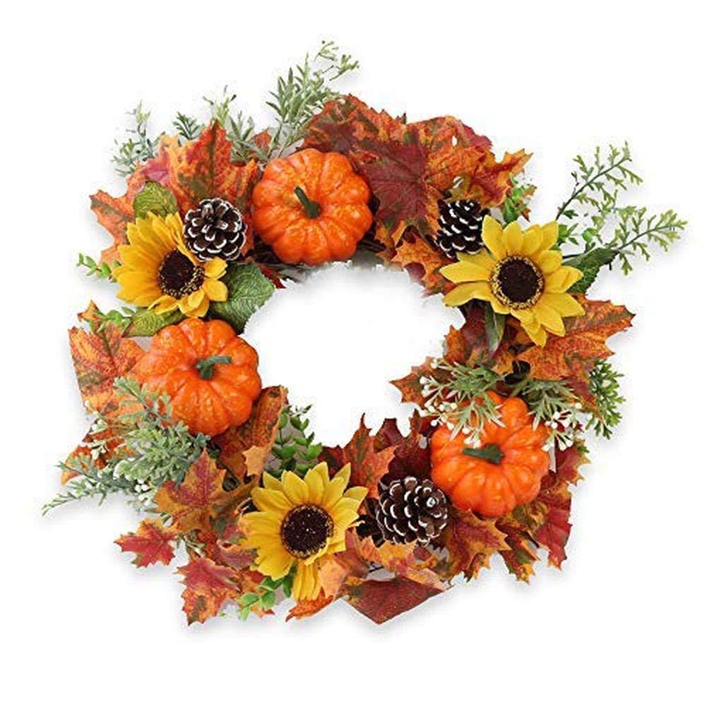 Belingeya Halloween Wreath, 15inch Maple Leaf Wreath Autumn Fall Wreath Pumpkin Wreath Orange Wreath for Front Door Home Decor Easter Decoration