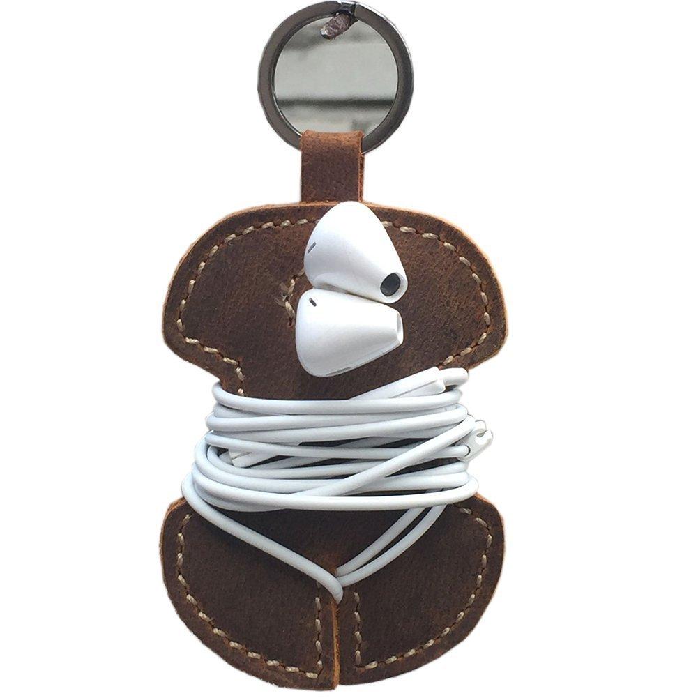 Qees in vera pelle fatta a mano clip Cord Wrap organizer auricolare cavo del trasduttore auricolare cuffie Holder Winder Cord manager (GJB11) ZhuoLang