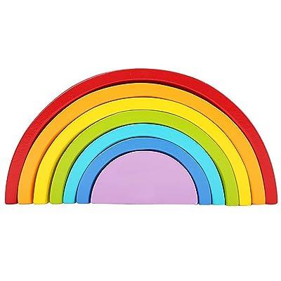 7 colores/conjunto ambiental madera niños niños bloques de construcción Rainbow juguete bebé educación temprana aprendizaje juguetes conjunto: Bebé