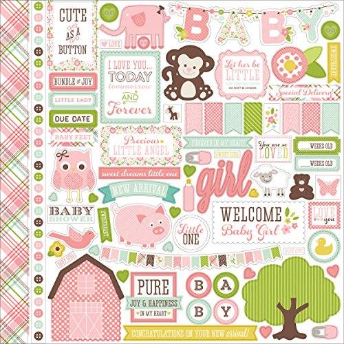 Echo Park Paper Bundle of Joy/A New Addition Baby Girl Element Cardstock Stickers, 12