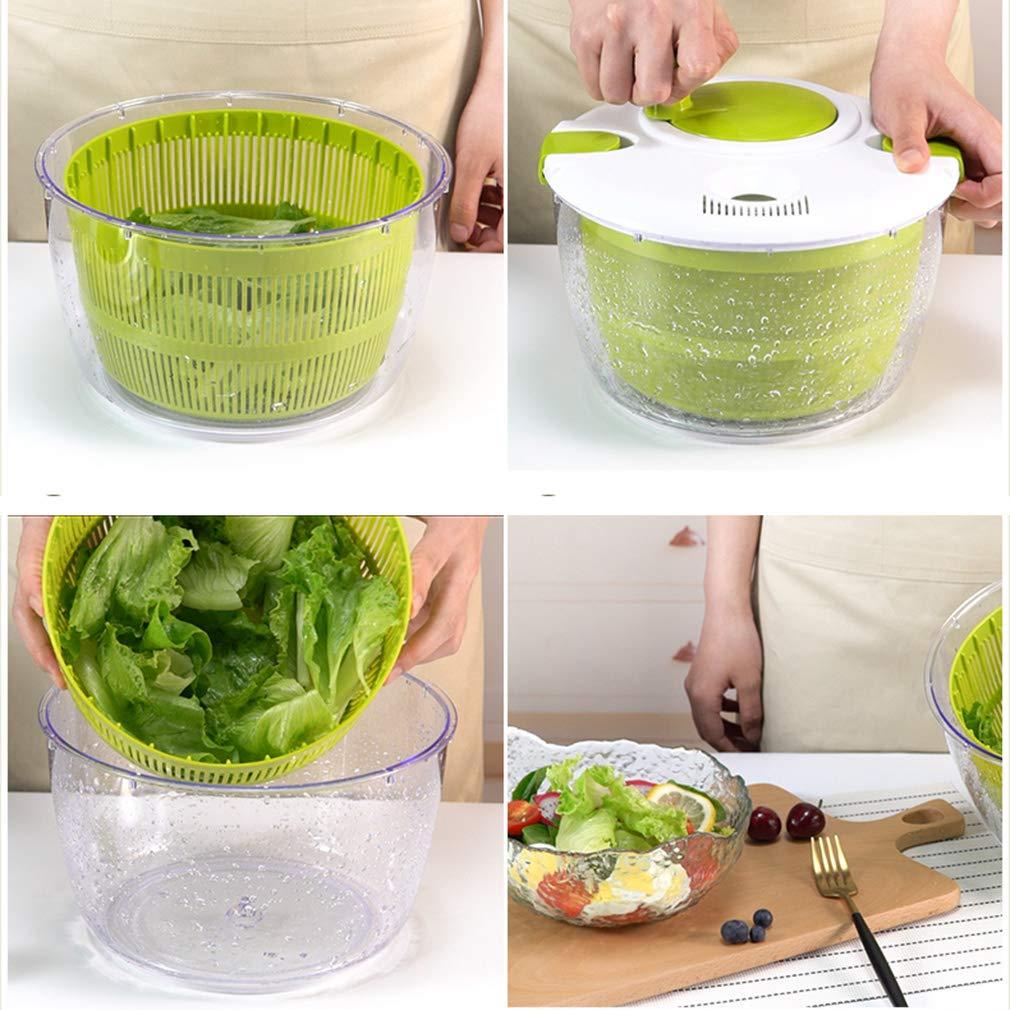 TIM-LI Salad Spinner - Vegetable Washer Manual Lettuce Dryer with Crank Handle & Locking Lid, BPA Free Allows Easy Storage by TIM-LI