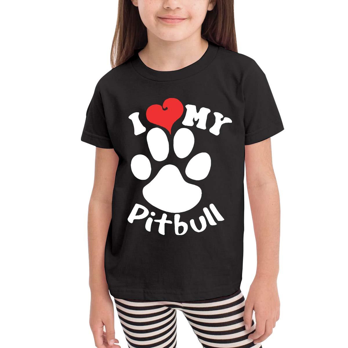 Little Boys I Love My Pitbull Soft Short Sleeve Tee Tops Size 2-6