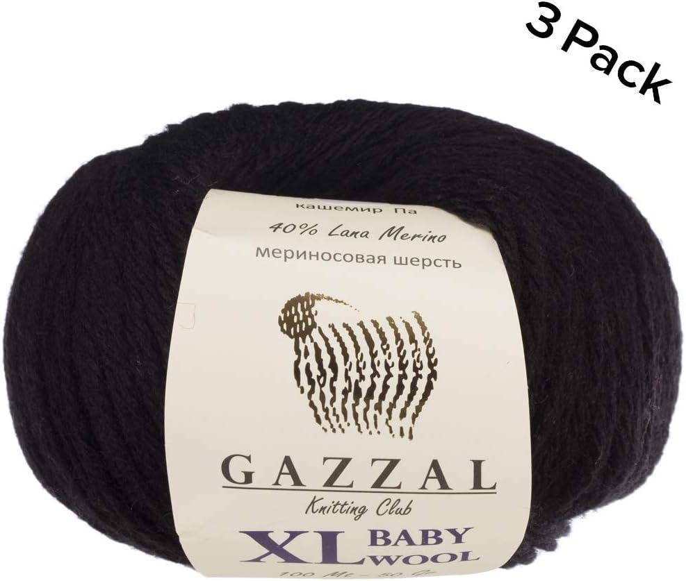 Ball 3 Pack 100m Pink-836 Gazzal Baby Wool XL Total 5.28 Oz // 328 Yrds 50g 40/% Lana Merino 20/% Cashmere Type Polyamide Medium-Worsted Yarn // 109 Yrds Super Soft Each Ball 1.76 Oz