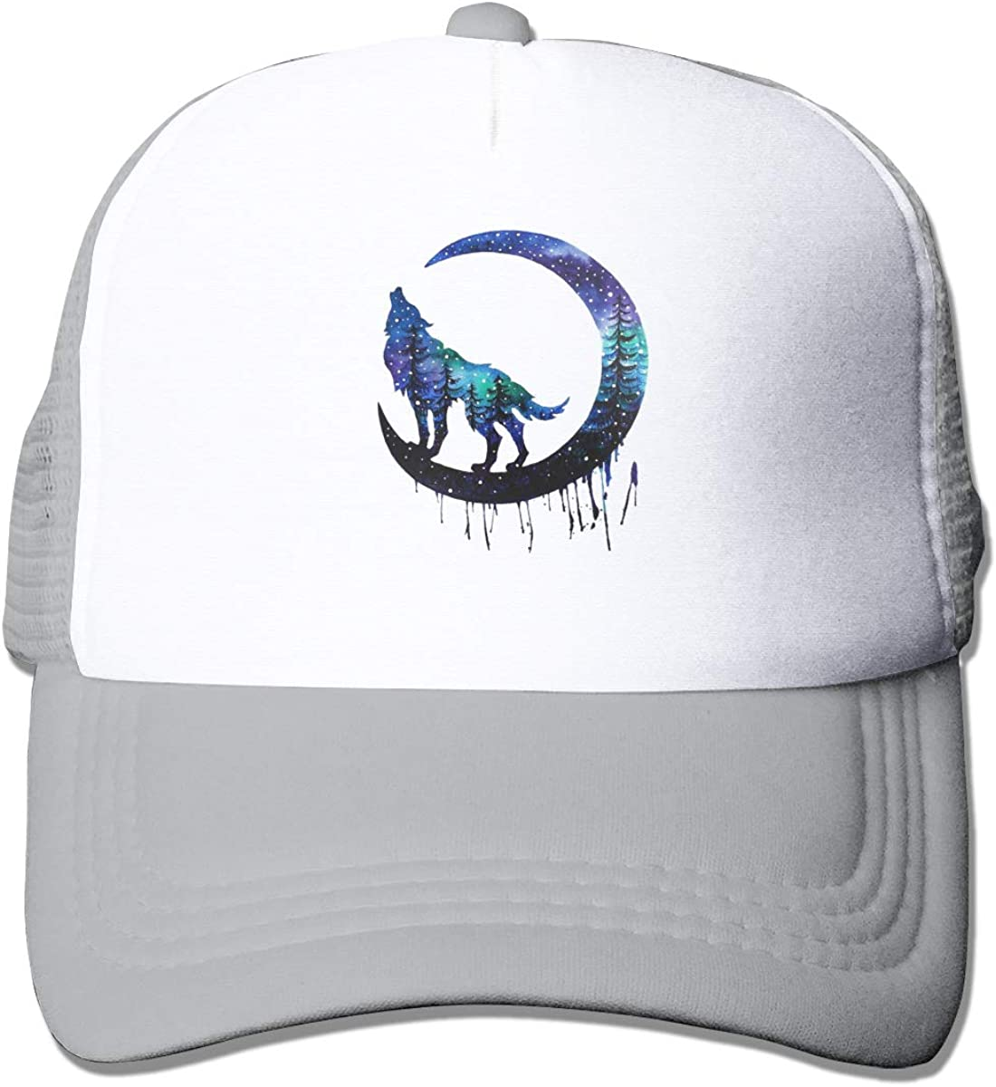 Zhiwei Station Wolf and Moon Unisex 3D Printed Trucker Hat Gray