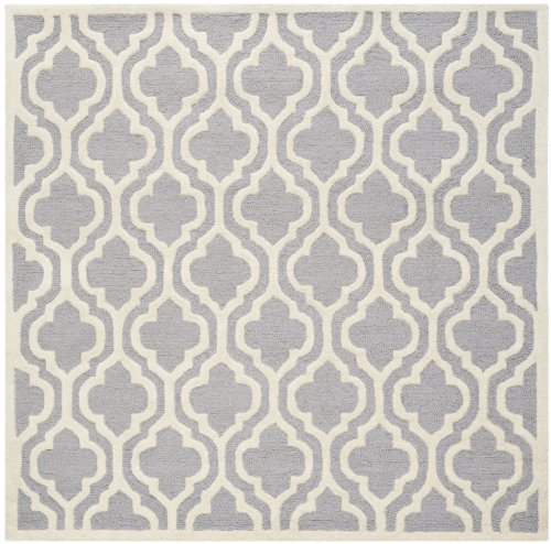 Safavieh Cambridge Collection CAM132D Handcrafted Moroccan Geometric Silver and Ivory Premium Wool Square Area Rug (8' Square)
