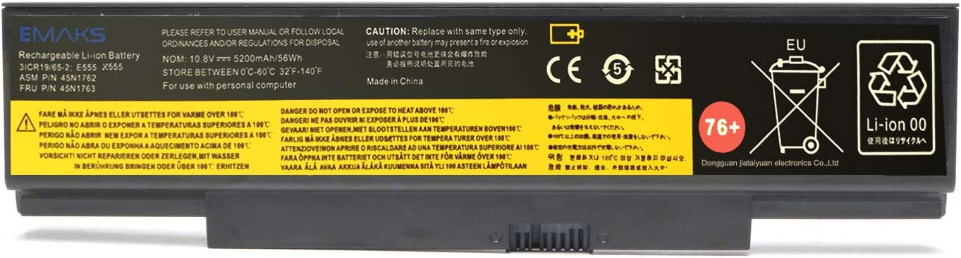 Emaks 76+ 45N15E9 Battery 45N1758 45N1759 for Lenovo ThinkPad (Edge) E550 E550C E555 E560 E565 Series 45N1760 45N1761 45N1762 45N1763 45N8961 45NE560 45NYU63 45R6758-10.8V 5200mAh 6Cell
