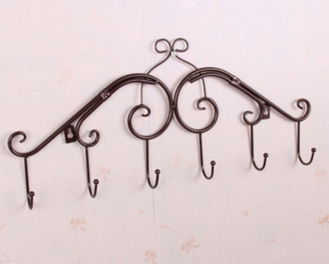 Wall Hanger 6 Hooks Hanging Clothes Rack Hook on the Wall (Bronze)
