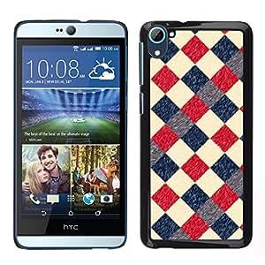 HTC Desire 826 dual Único Patrón Plástico Duro Fundas Cover Cubre Hard Case Cover - Plaid Checkered Pattern Blue Red