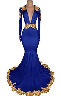 2b040ef8411 Graceprom Women s Black Long Sleeves Prom Dress Gold Appliques Mermaid Evening  Dress