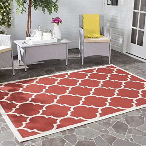 12x12 Bone (Safavieh Courtyard Collection CY6914-248 Red and Bone Indoor/Outdoor Area Rug (9' x 12'))