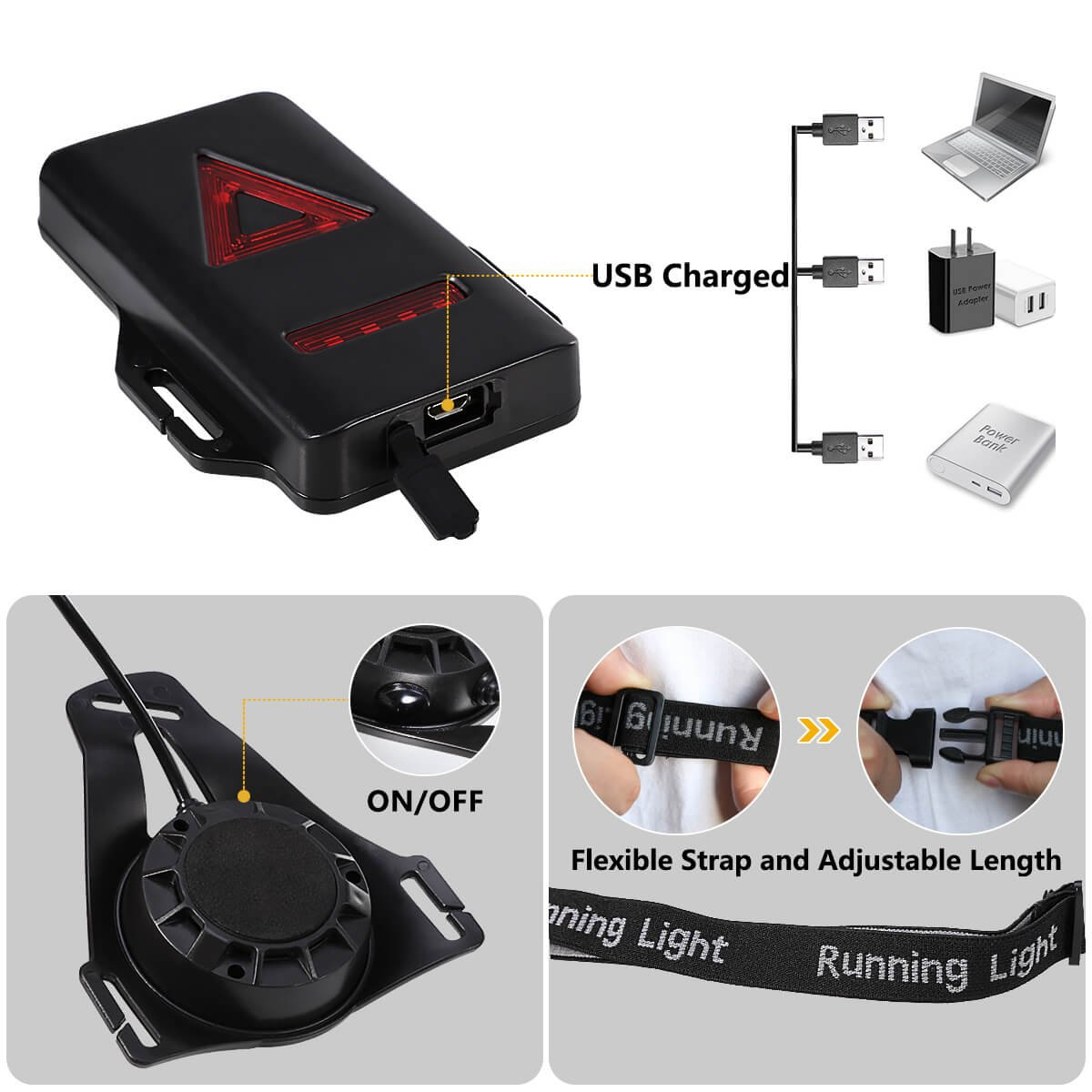 Running ALOVECO Outdoor Night Running Lights LED Chest Light Back Warning Light with Rechargeable Battery for Camping Jogging Hiking Outdoor Adventure