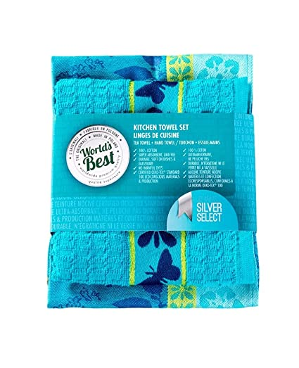 World S Best Kitchen Tea Hand Towel Set Super Absorbent Tea Towel 20 X27 5 Hand Towel 20 X20 Butterfly Turquoise