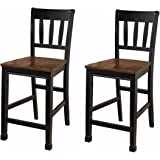 Ashley Furniture Signature Design - Owingsville Barstool - Ladder Back - Set of 2 - Two Tone Black and Brown