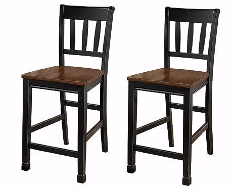 ashley furniture signature design owingsville barstool ladder back set of 2 two