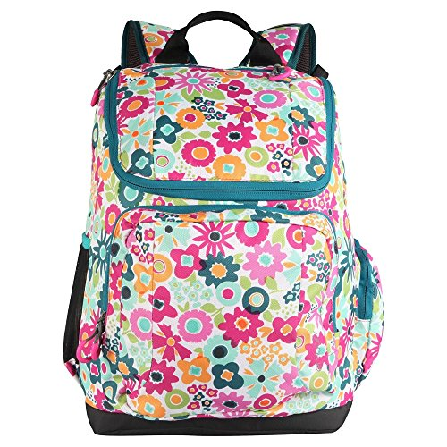 "Embark 17"" Recycled Content Elite Jartop Backpack with Cushioned Laptop Sleeve - Multi-colored floral"
