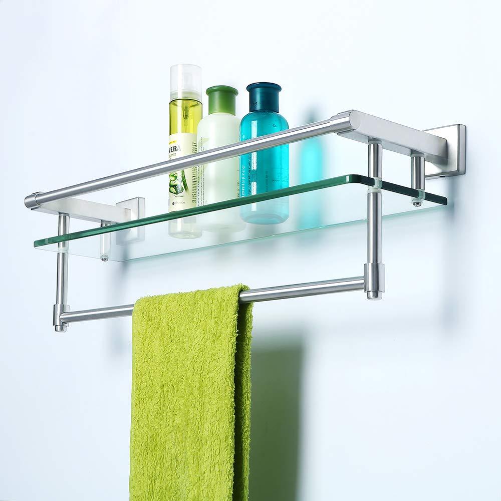 Sayayo Tempered Glass Shelf Square Bathroom Shelf with Towel Bar and ...