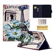 iPad Air Case, UUcovers PU Leather Stand Slim Lightweight Wallet [Card Holder] Folio Flip Magnetic Smart Cover with Auto Sleep/Wake for Apple iPad Air 1 9.7 Inch (A1474/A1475/A1476), Eiffel Tower Flower