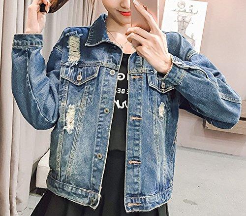 Strappato Donna Giacca Jeans In Fit Blu Giacche Gladiolusa Estate Slim xFq7TYRR