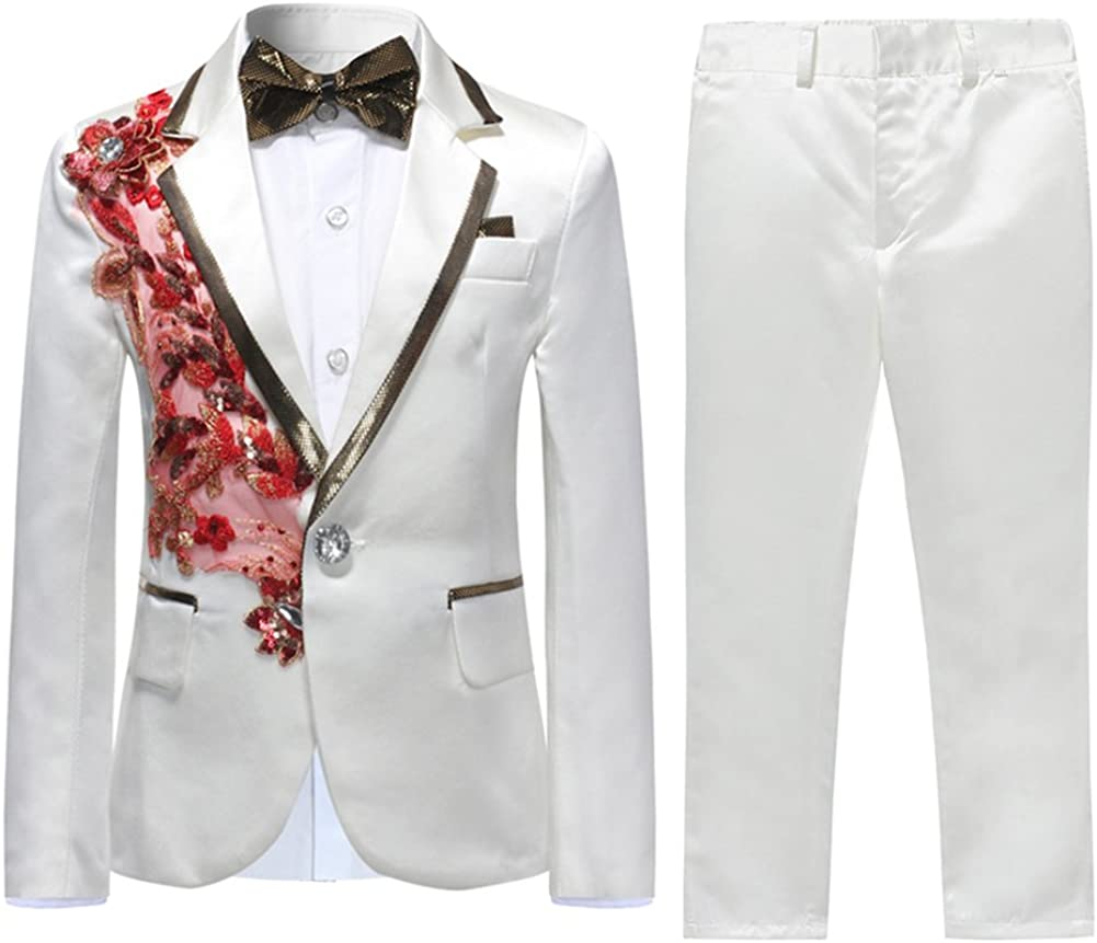 Boys Suits Weddings Prom Dinner Page Boy Tuxedo Suit White Suits 2 Pieces Slim Fit Jacket Trousers Kids 4 16 Years Amazon Co Uk Clothing
