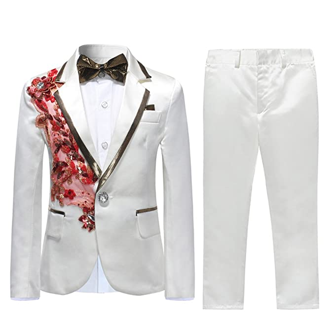 5e8759b26920 Boys Suits Weddings Prom Dinner Page Boy Tuxedo Suit White Suits 2 Pieces  Slim Fit Jacket Trousers Kids 4-16 Years  Amazon.co.uk  Clothing