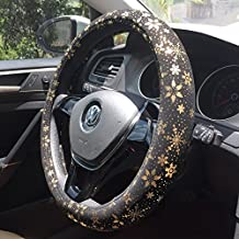"""Bright Gold Snowflake Steering Wheel Cover For 4 Seasons 15"""""""