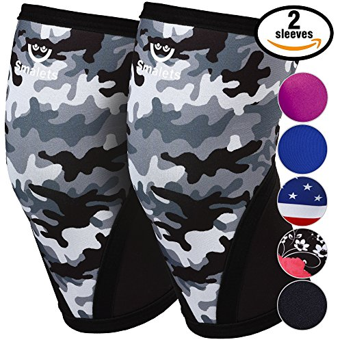 Women's Athletics & Weightlifting Non Slip Compression Knee Sleeves 1 Pair Great Support & Effective Relief from Muscle Pain & Fatigue Black Camo, M