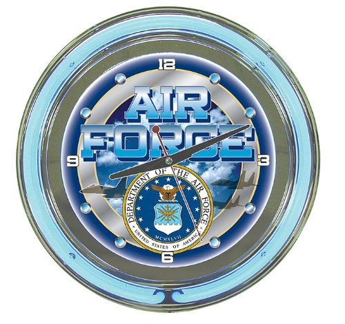 (United States Air Force Chrome Double Ring Neon Clock, 14