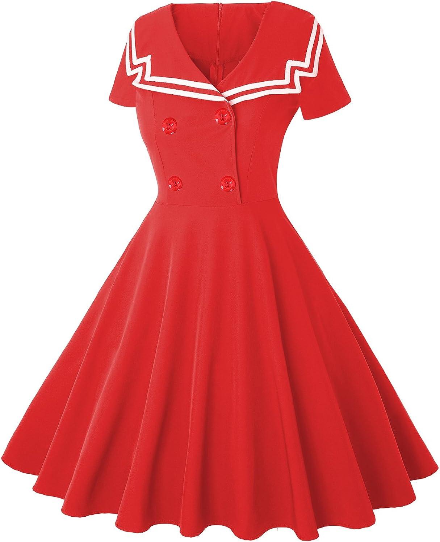 Sailor Dresses, Nautical Theme Dress, WW2 Dresses MISSJOY Halloween Sailor Dress for Women Fit and Flare Uniform Skirt Nautical A Line Dress $23.99 AT vintagedancer.com