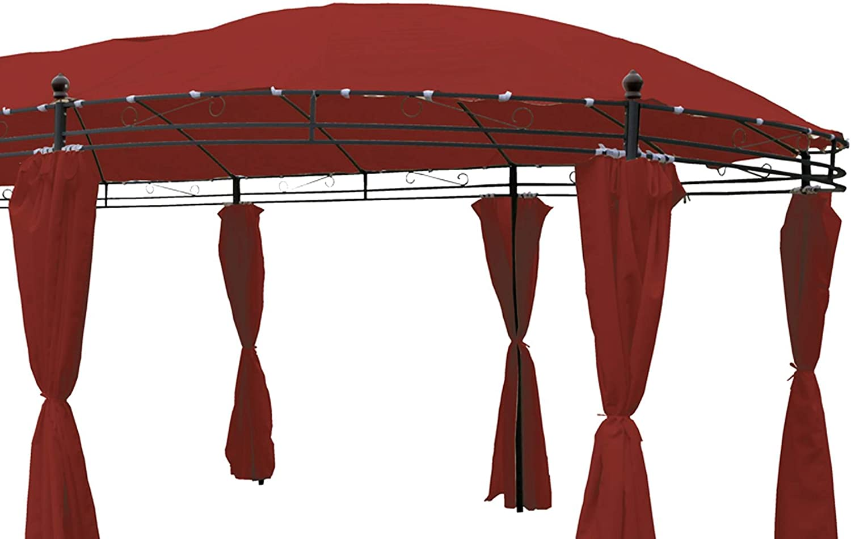 Cenador ovalado 5, 3 x 3, 5 m burgundrot Incluye laterales: Amazon ...