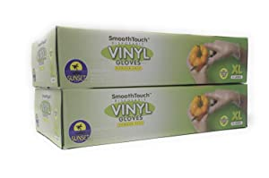 200 Disposable Vinyl Gloves, Non-Sterile, Powder Free, Smooth Touch, Food Service Grade, X Large Size [2x100 Pack]