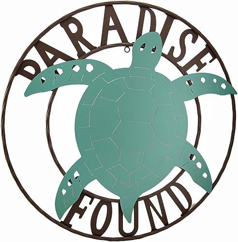 Zeckos Paradise Found Sea Turtle Metal Wall Hanging
