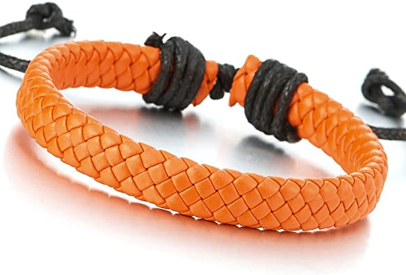 G Mens Womens Real Leather Plaited Wristband Bracelet