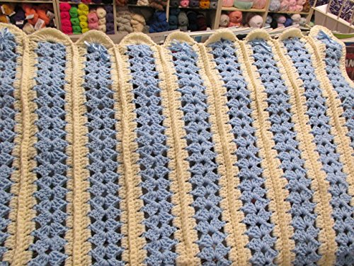 Hand Crocheted Baby Afghan - Hand Crocheted Off White and Blue Mile a Minute Baby Afghan