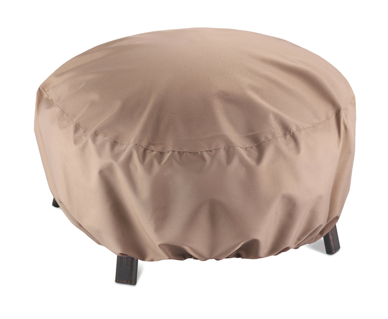 SunPatio Outdoor Round Fire Pit Cover, Kettle Cover, Ottoman Cover, 32''Diax14''H, Lightweight, Water Resistant, Eco-Friendly, All Weather Protection, Beige