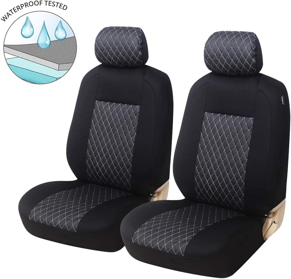 Truck Auto Car Front Seat Covers Seat Protectors Universal Fit for Bucket Seat Sedan SUV,Black//Grey