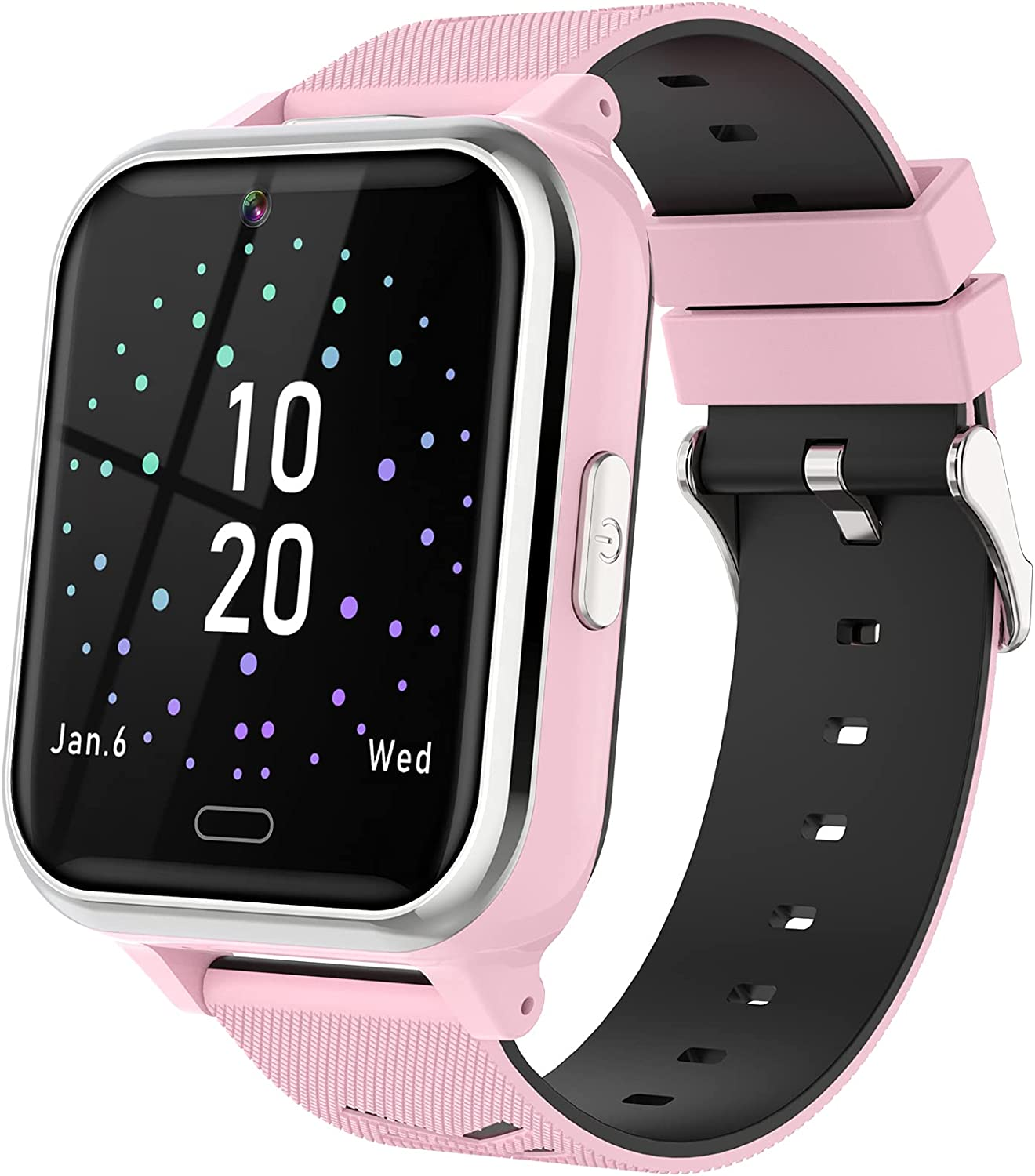 Kids Smart Watch with Dual Camera 17 Games Alarm Clock Calculator Music Torch Video Player Recorder for 4-12 Years Boys Girls Birthday Gifts Electronic Learning Education Toys (Pink)