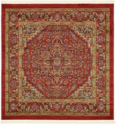 Unique Loom Sahand Collection Traditional Geometric Classic Red Square Rug 4 0 x 4 0