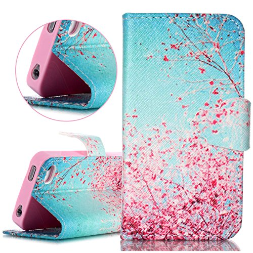 e, Kickstand Stand Cover Wallet Purse Credit Card ID Holders Case Cover Magnetic Snap Closure PU Leather Cover for Apple iPhone 4 4s -Blue Pink Cherry Blossoms ()
