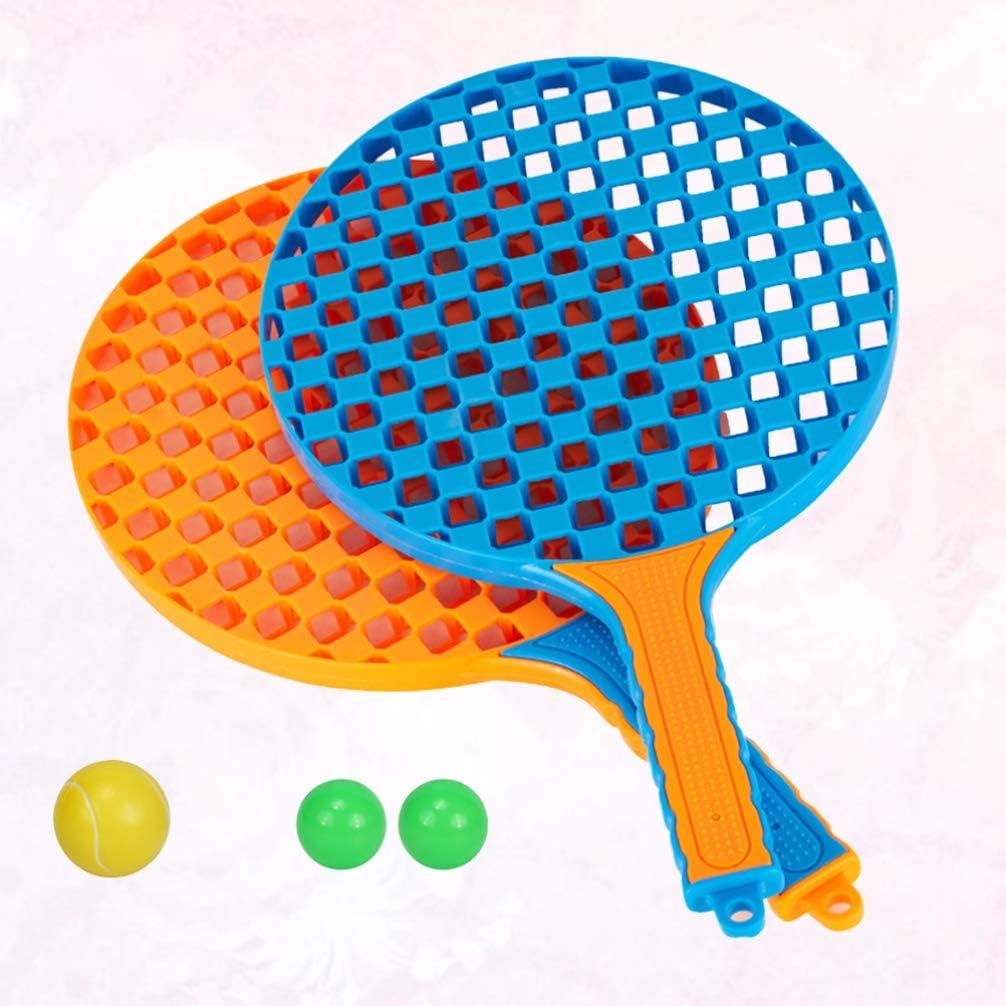 2Pcs Rackets, 3Pc Balls BESPORTBLE Kids Plastic Tennis Racket C Children Training Badminton Pats for Kids Random Color
