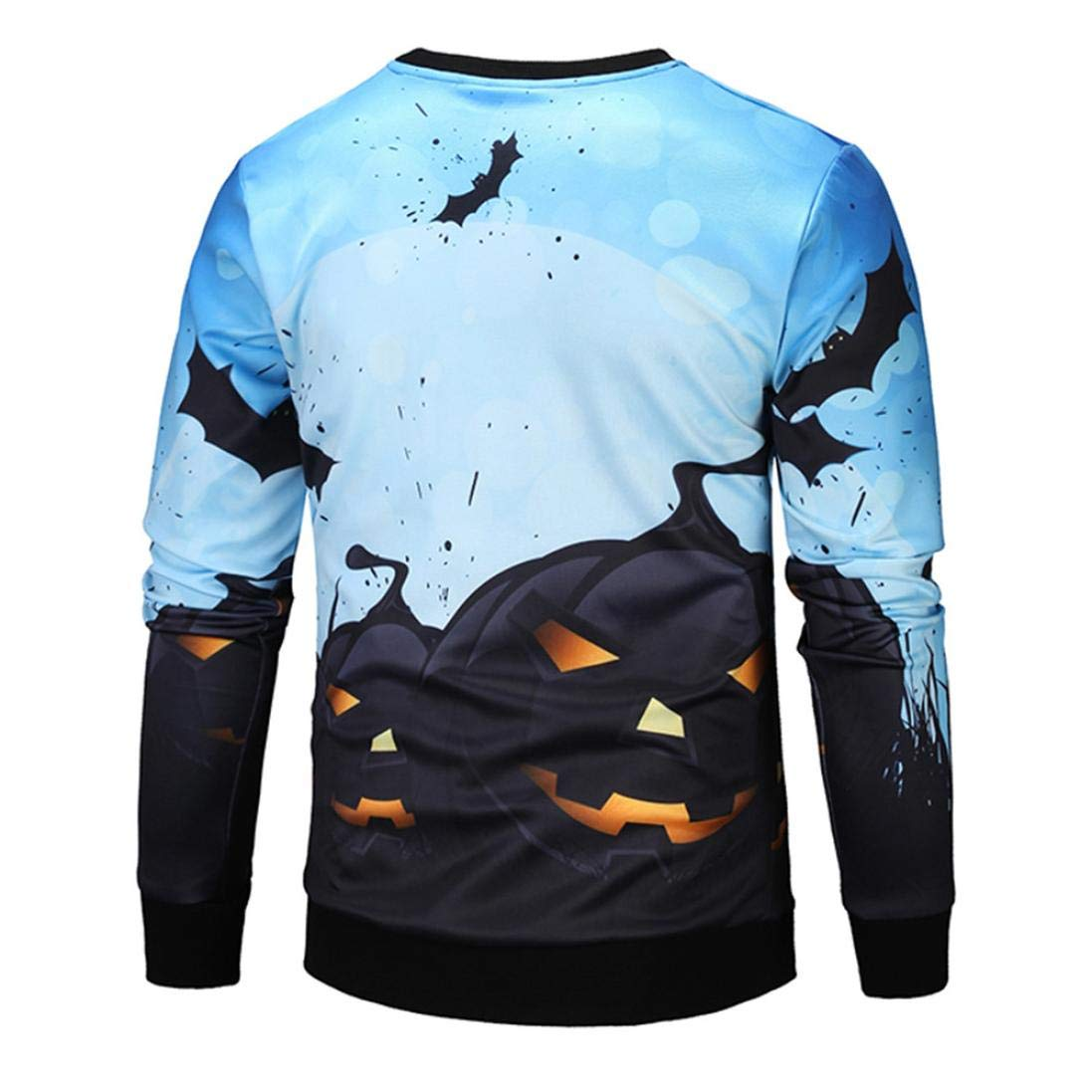 kaifongfu Men Scary Halloween Tops with Pumpkin 14D Print Long Sleeve Party Hoodie Blouse(Blue,S) by kaifongfu-mens clothes (Image #3)