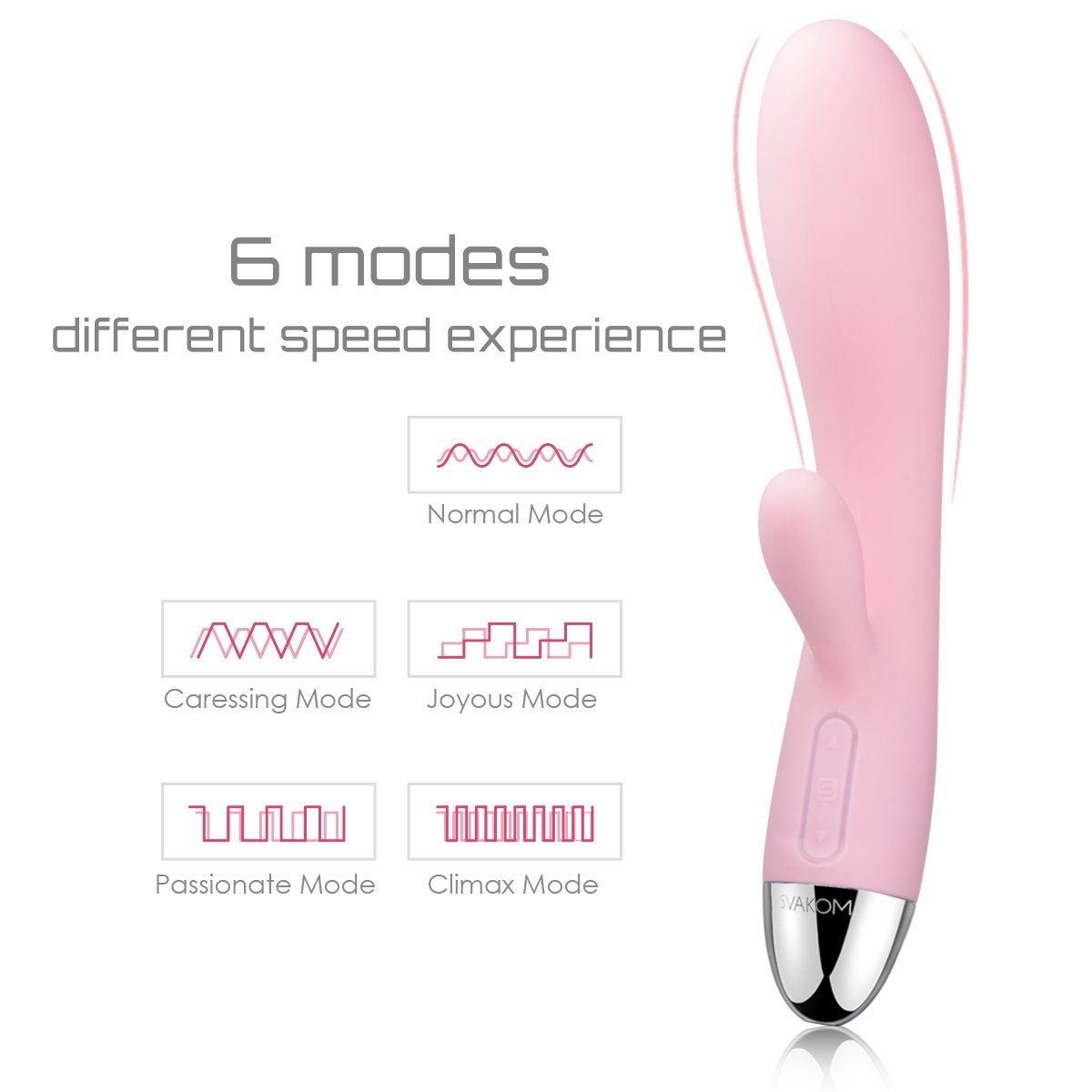 SVAKOM Cherry Rechargeable 100% Waterproof Rabbit G-spot Clitoral Vibrators with 6 vibration Modes Stimulators Dildos Wand Massagers for Women