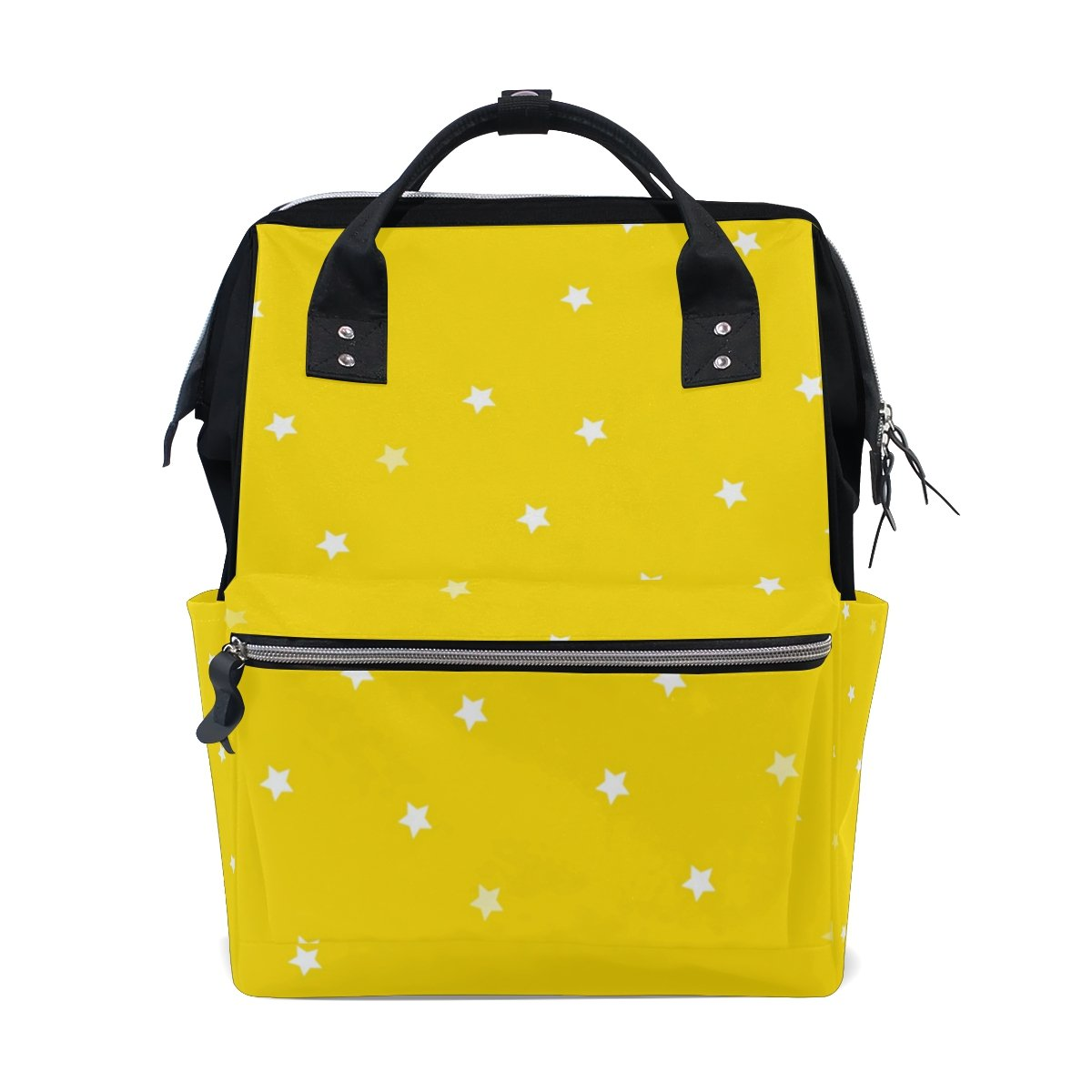 THUNANA Star Pattern Yellow Zipper Travel Large Capacity Baby Diaper Bag School Laptop Canvas Backpack Women